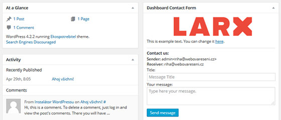 Custom Dashboard Widget & Dashboard Contact Form