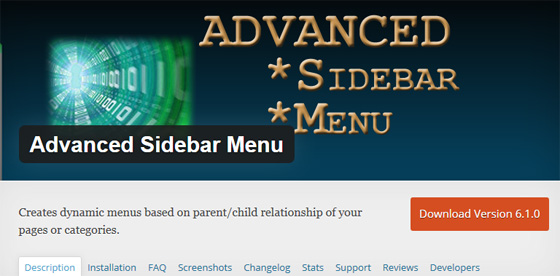 Плагин Advanced Sidebar Menu