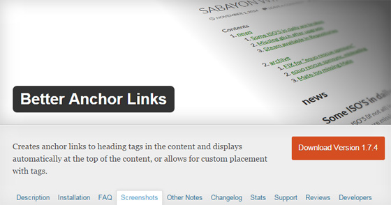 Плагин Better Anchor Links