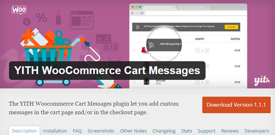 Плагин YITH WooCommerce Cart Messages