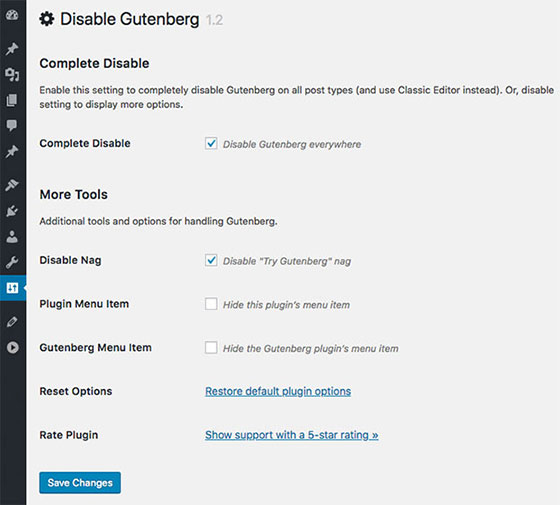 Настройки Disable Gutenberg