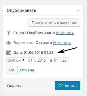 Дата поста в WordPress