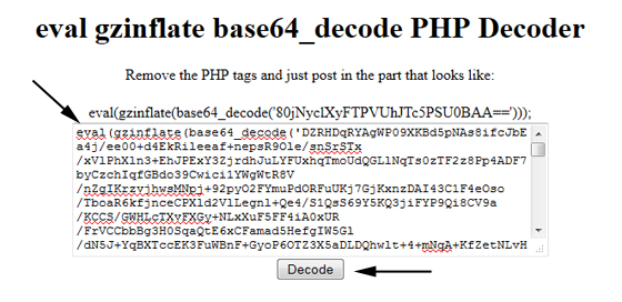 eval gzinflate base64_decode PHP Decoder