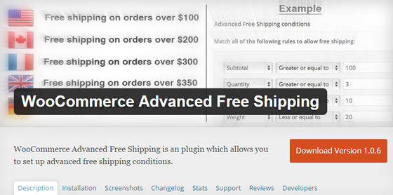 Плагин WooCommerce Advanced Free Shipping