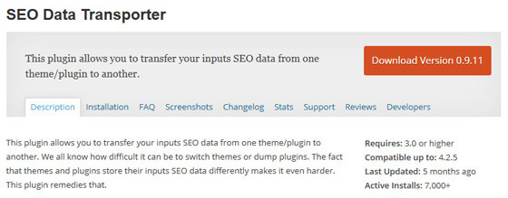 Плагин SEO Data Transporter