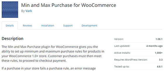 Плагин Min and Max Purchase for WooCommerce