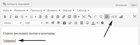Шорткоды в Category Posts Widget