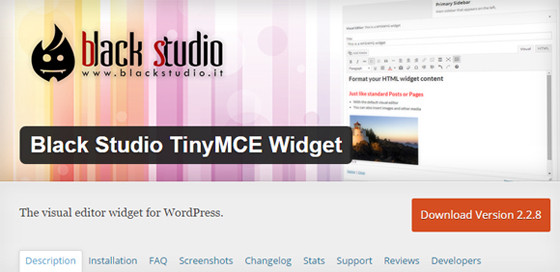 Плагин Black Studio TinyMCE Widget