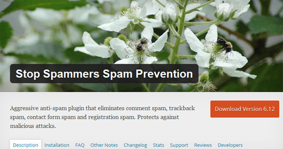 Плагин Stop Spammers Spam Prevention