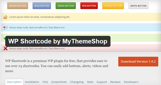 Плагин WP Shortcode by MyThemeShop