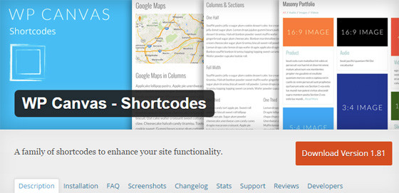 Плагин WP Canvas - Shortcodes