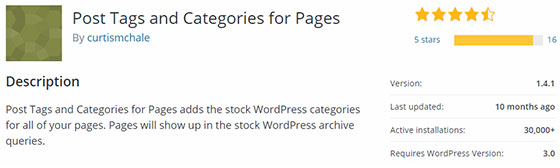 Post Tags and Categories for Pages