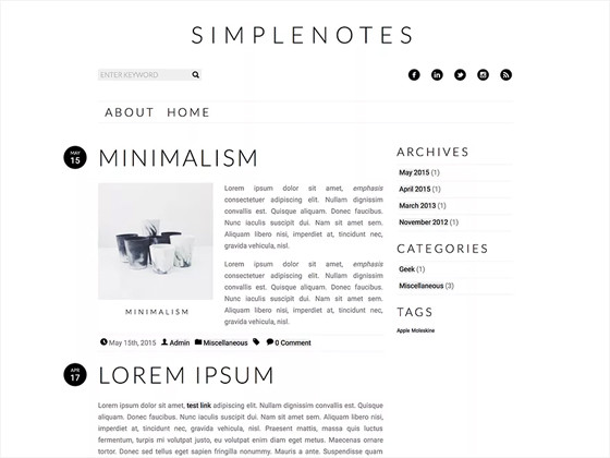 Simplenotes theme
