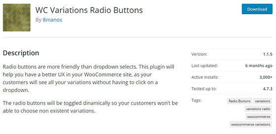 Плагин WC Variations Radio Buttons