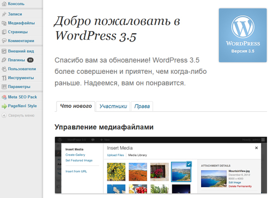 новый WordPress 3.5