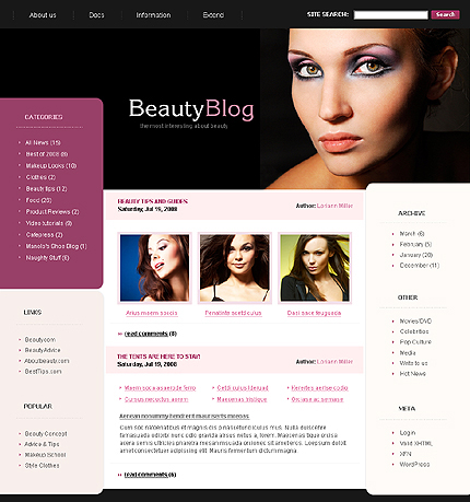 вордпресс шаблон блога красоты Beauty Blog