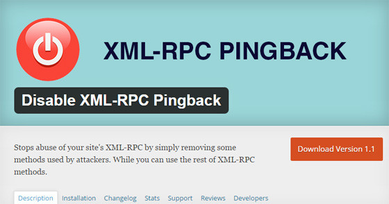 Плагин Disable XML-RPC Pingback